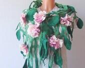 Felt scarf belt  net  Green leaves Pink blossoms Flowers