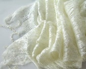 Cobweb felted scarf wedding  White pearl