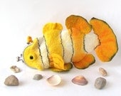 Felted purse cosmetic Yellow Fish  Metal Frame  octopurse