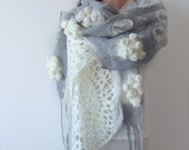 Nuno felted scarf  white grey lace