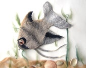 Felted purse cosmetic Grey  Fish  Silver Metal Frame under 50 octopurse