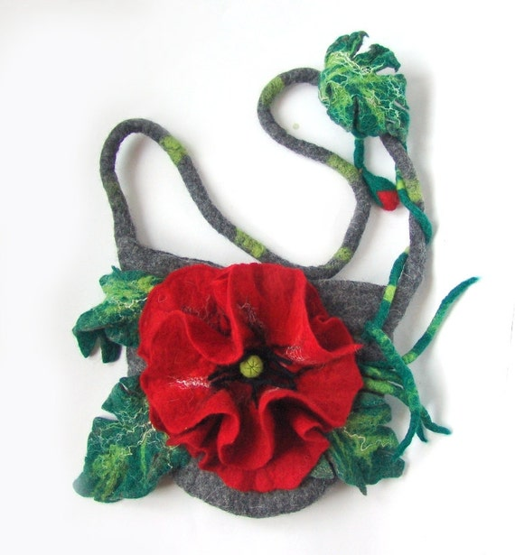 Felted handbag  medium  - Poppy
