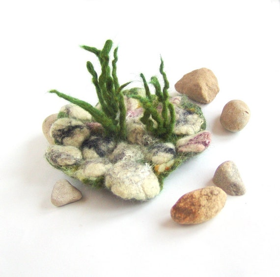 Felted brooch   Grey stones Grass under 25