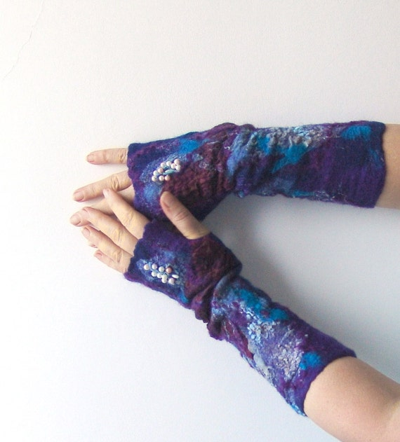 Felted fingerless gloves Mittens -  Dark blue burgund purple violet