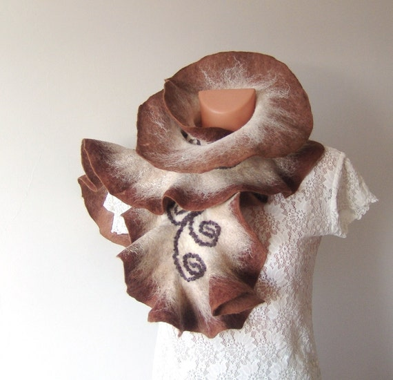 Felted scarf   ruffle collar brown beige white