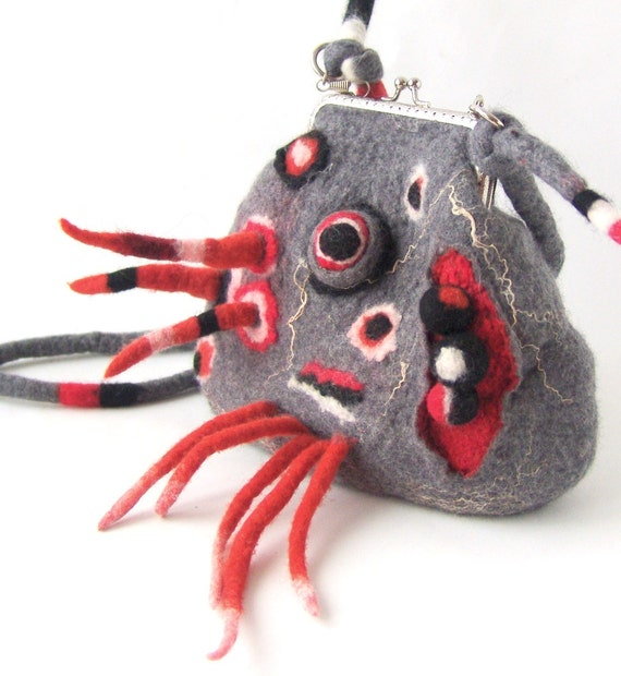 Felted  handbag small Grey with fringes geometric gift under 75