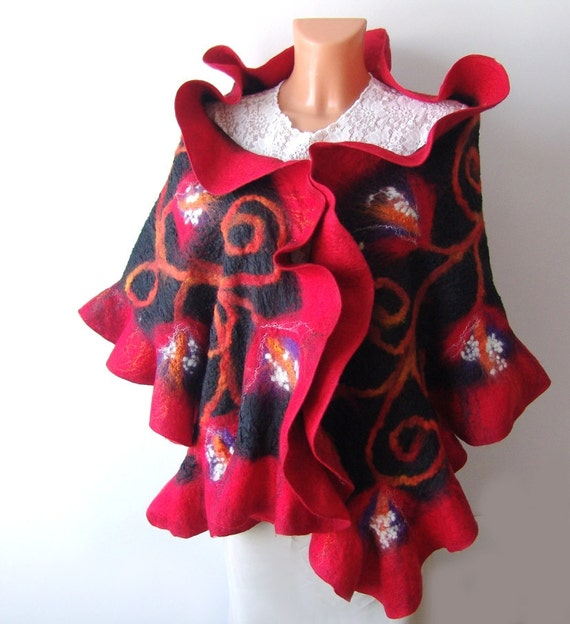 Nuno Felted scarf   ruffle collar stole Red and Black