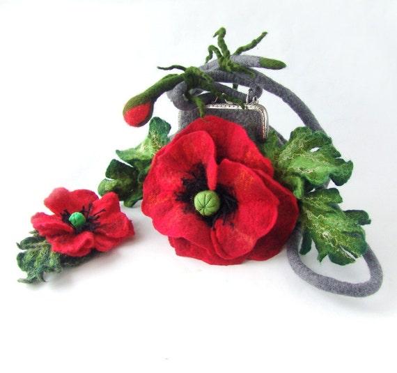 Felted handbag flower  Poppy Red flower  gift under 75