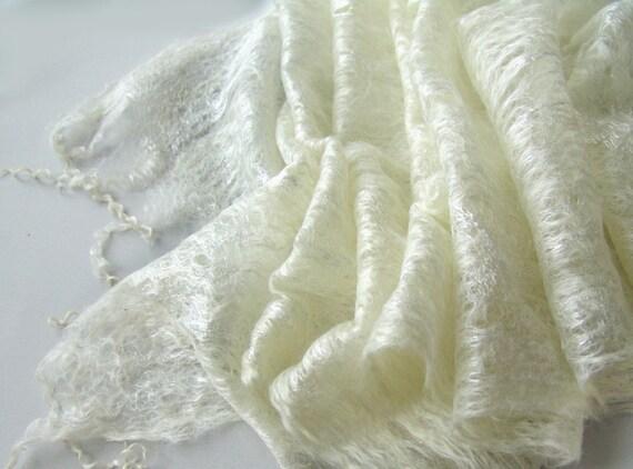 Cobweb felted scarf wedding  White pearl