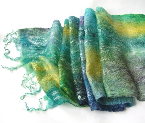 Felted scarf -  Teal Green Blue sea waves