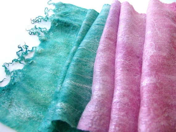 Cobweb Felted scarf -  Mint Pink Teal