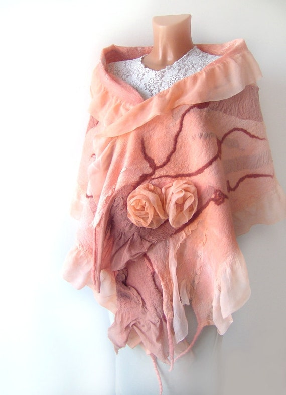 Nuno felted scarf ruffle - Apricot coral Rose flower