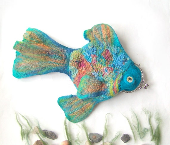 Felted fish purse cosmetic Fish blue Metal Frame octopurse