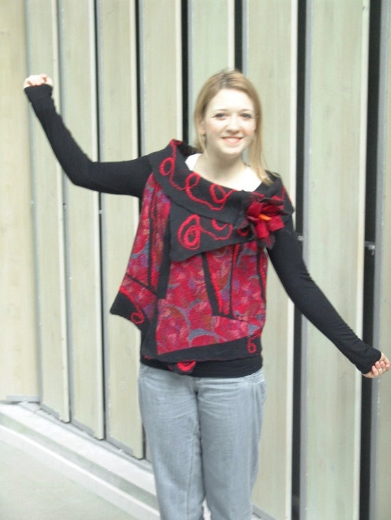 Nuno felted vest - Black Red Fire reversible