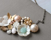 GOLD BUTTERFLY and PEARL  FLOWER Cluster Collage Vintage Necklace