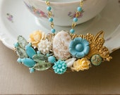 Vintage Busket Of Flowers In Blue and Gold Collage Necklace