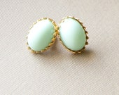 Romantic Post Earrings Shabby Chic Pastel Mint Green Glass