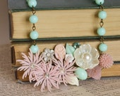 Minty Pink Garden Vintage Collage Necklace