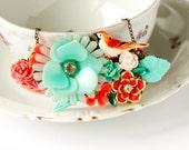 SALE - Coral Dreams - Spring 2011 - Vintage Collage Necklace
