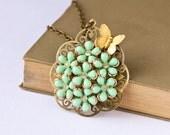 Mint Cupcake Vintage Necklace