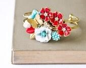 Bracelet -  Gold Aqua and Red Vintage Collage