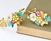 Custom Order - Bridesmaid Bracelets - Bridesmaid Gift, Shabby Chic Wedding Jewelry, Vintage Bracelet, Custom Order Collage Bracelet