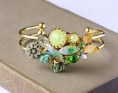 Romantic Vintage Bracelet - Shabby Chic Bracelet, Cuff Bracelet, Bridesmaid Bracelet, Bridesmaid Gift, Wedding Jewelry, Green Rhinestones