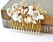 Romantic Bridal Hair Comb Collage Vintage Shabby Chic Wedding  Ivory Bride gold upcycle