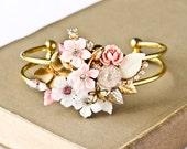 Shabby Chic Bracelet - Vintage Bracelet, Bridesmaid Bracelet, Wedding Jewelry Pink and White Upcycled cuff Bracelet, Christmas Gift