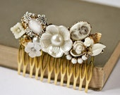Bridal Hair Comb - Vintage Hair Comb, Wedding Hair Comb, Shabby Chic Bride, Holiday Gift, Bridal Accessories, White, Cream Holiday Gift