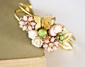 Pink Shabby Chic Bracelet - Vintage Bracelet, Bridesmaid Bracelet, Wedding Jewelry, Bridesmaid gift, Cream Green White Collage Jewelry