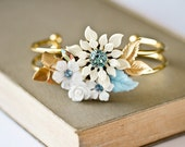Shabby Chic Bridal Bracelet - Something Blue, Bridesmaid Gift, Vintage Bracelet, Bridesmaid Bracelet, Wedding Jewelry Gold White Collage