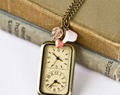 Watch Necklace - Shabby Chic Necklace, Pink Flower Charm, Vintage Style Romantic Necklace, Holiday Gift For Her