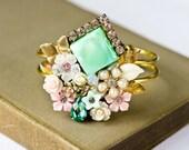 Shabby Chic Bracelet - Collage Bracelet, Bridesmaid Gift, Bridesmaid Bracelet, Upcycle Jewelry, Mint Green, Wedding Jewelry