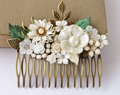 Bridal Hair Comb - Shabby Chic Hair Comb, White Hair Comb, Vintage Hair Comb, Woodland Wedding, Winter Wedding, Collage Hair Comb