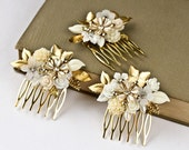 Custom Order - Wedding Hair Combs Set - 3 Vintage Bridal Bridesmaids Hair Comb, Shabby Chic Wedding Accessories