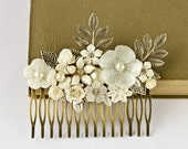 Silver Bridal Hair Comb - Vintage Shabby Chic Wedding Hair Accessories, Floral Bridal Hair Piece, Old Hollywood, Something Old, Collage