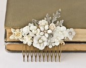 Bridal Hair Comb - Bridal Hair Accessories, Vintage Hair Comb, Shabby Chic Wedding Accessories, Silver Hair Comb, Unique Something Old