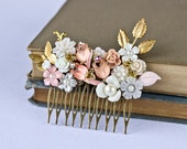 RESERVED - OOAK Bridal Wedding Hair Comb, Peach Pink Spring Wedding Hair Accessory Vintage Shabby Chic Something Old Bridal Hair Comb