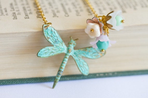 Dragonfly and Flowers Vintage Necklace