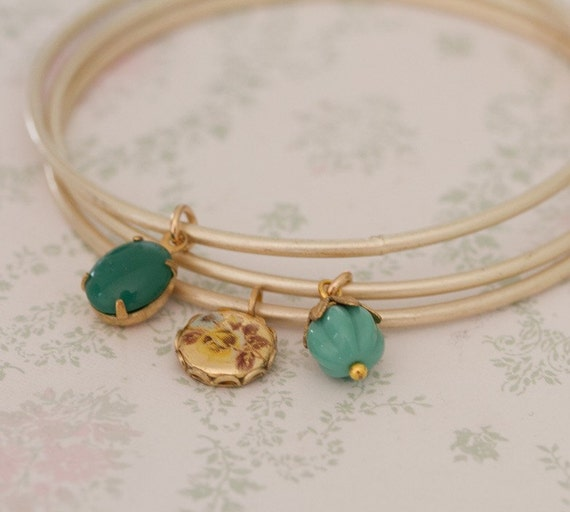 Turquoise and Gold Bangles Trio Bracelets