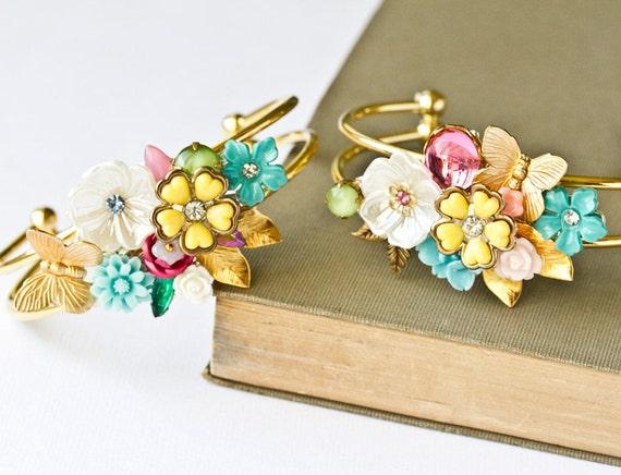 Spring Bridesmaid Bracelets - Bridesmaid Gift, Shabby Chic Wedding Jewelry, Vintage Bracelet, Custom Order Collage Bracelet