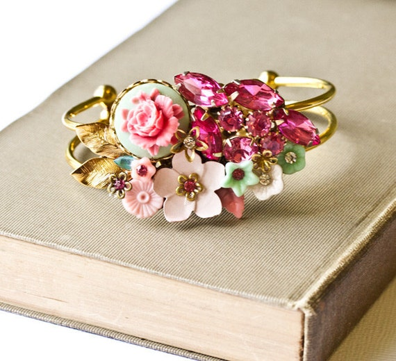 Vintage Collage Bracelet Pink Shabby Chic Cuff Bridesmaid Romantic Mint Green