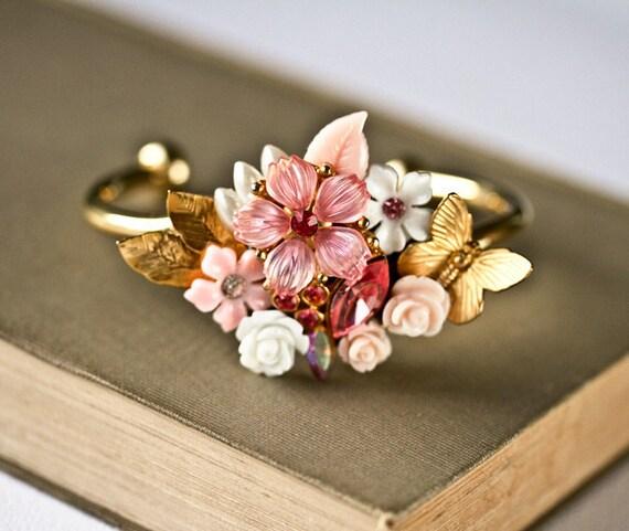 Pink Shabby Chic Bracelet, Bridesmaid Bracelet, Wedding Jewelry, Vintage Bracelet, Collage Bracelet, Bridesmaid Gift