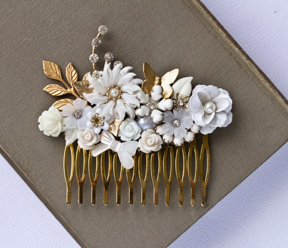Bridal Hair Comb - Gold Floral Bridal Hair Accessories, Wedding Hair Comb, Vintage Hair Comb, Shabby Chic Hair Comb, Elegant Collage