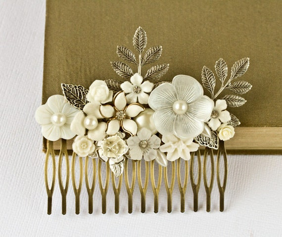 Silver Bridal Hair Comb - Vintage Shabby Chic Wedding Bridal Hair Accessories, Floral Hair Piece, Old Hollywood, Something Old, Collage