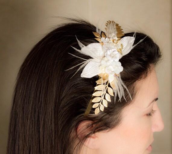 Bridal Hair Comb - Wedding Bridal Hair Accessories, Romantic Shabby Chic Hair piece, White and Gold Elegant Vintage Hair Comb