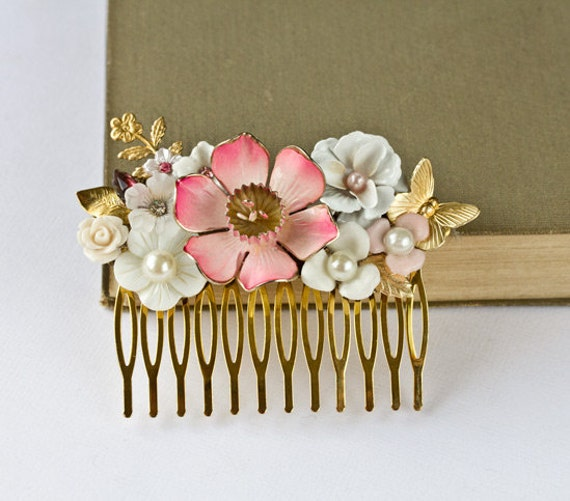 Cherry Blossom Bridal Hair Comb - Bridal Hair Accessories, Pink Whte Gold Flowers Hair Comb, Shabby Chic Vintage Hair Comb, Spring Wedding
