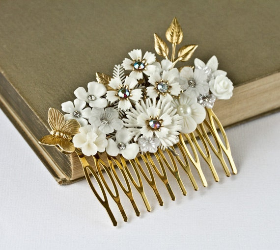 OOAK Bridal Hair Accessories - Bridal Hair Comb, White Floral Wedding Hair Comb, Vintage Shabby Chic Hair Comb, Something Old Spring Wedding