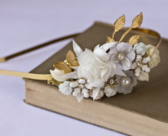 Bridal Headband - White Flowers Headband, Bridal Hair Accessories, Head Piece, Shabby Chic Vintage Wedding Headband, Bride Hair